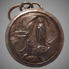 Virgin Mary Our Lady Lourdes  Large French Medal