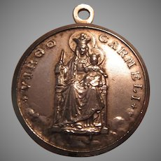 Large Virgin Mary Our Lady Mt Carmel 1960 Signed Medal