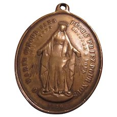 Large Bronze French Virgin Mary Miraculous Medal
