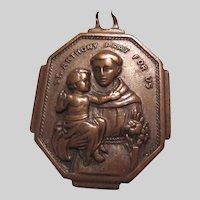 St Anthony St Christopher Very Old Unusual Medal