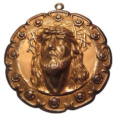 Huge Gold Jesus Crown of Thorns Virgin Mary Our Lady Guadalupe Medal Pendant