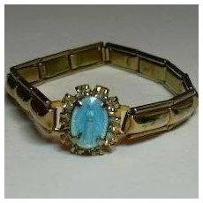 Jeweled Blue Enamel Mary Miraculous Medal on Bracelet