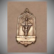 Perpetual Mass Association Jesus Crucifix & Holy Spirit Sterling Silver Medal Rare Catholic  Sacramental Medallion