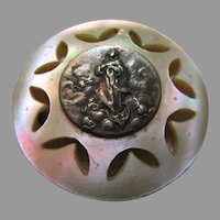 Virgin Mary Assumption Annunciation Silver Medal Carved Mother of Pearl