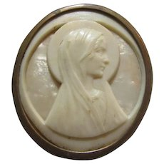 Virgin Mary Cameo Religious Art Medal Pin