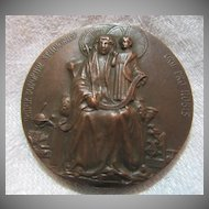 Bronze Medal  Mater Bonorum Studiorum St Anne & Virgin Mary  Dated 1913 Bronze Medallion Reims Cours Normal Rare