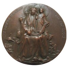 Bronze Medal Mater Bonorum Studiorum St Anne & Virgin Mary Dated 1913 Bronze Medallion Reims Cours Normal Rare
