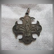 Mary Our Lady Lourdes French Medal Cross Fine Catholic Christian Religious Medallion