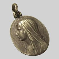 Old French Virgin Mary Our Lady Lourdes  Medal