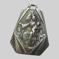 Virgin Mary Jesus Sacred Heart Old Scapular Medal Signed AP