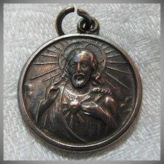 Old Scapular Medal Jesus Sacred Heart Our Lady Mt Carmel