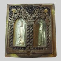 Pocket Icon Shrine St Anne Yellow Glass Old