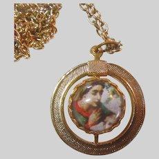 Virgin Mary St Joseph Infant Jesus Rotating Bubble Medal On Chain