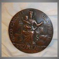 Huge Catholic Medal Virgo Carmeli Scapulaire Our Lady of Mt Carmel Scapular Fine Religious Medallion