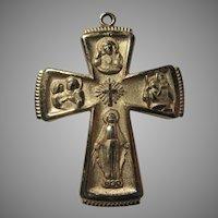Gold Tone Metal Four Way Cross Medal Virgin Mary Jesus Sacred Heart