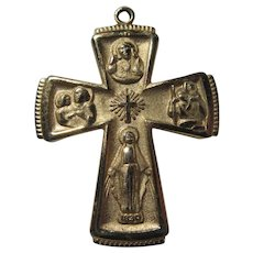 Gold Tone Metal Four Way Cross Medal Virgin Mary Jesus Sacred Heart