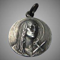 Unusual Virgin Mary Medal Jerusalem Cross