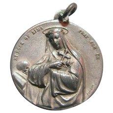 Saint Rose Of Lima Jesus Sacred Heart Signed Medal