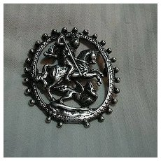 St George & The Dragon Large Sterling Medal PIn