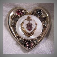 Lovely Sacred Heart Medal Jeweled Heart