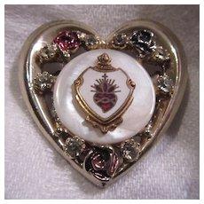 Lovely Sacred Heart Medal Jeweled Heart