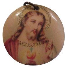 Old Celluloid Jesus Sacred Heart Medal Medallion