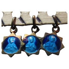 Tiny Jesus Sacred Heart Blue Enamel Medal Sterling