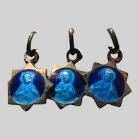 Tiny Jesus Sacred Heart Blue Enamel Medal