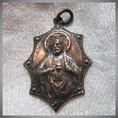 Old Scapular Medal Jesus Sacred Heart