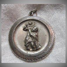 Old Sterling Silver Large St Christopher Medal