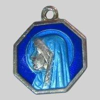 Virgin Mary Our Lady Blue Enamel Medal