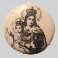 Virgin Mary Infant Jesus Button Medal Pin