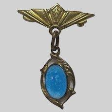 Virgin Mary Tiny Blue Enamel Miraculous Medal On Pin