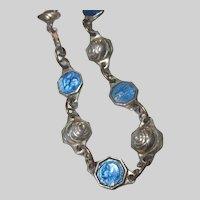 Blue Enamel Virgin Mary Jesus Sacred Heart Medal Tiny Medals Bracelet