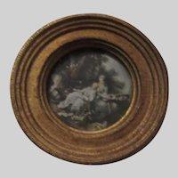 Italian Florentine Miniature Gold Gilt Frame Print of Ladies
