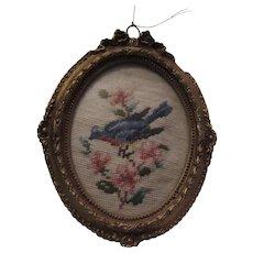 Bluebird Miniature Needlepoint Framed In Gold gilt Florentine Frame