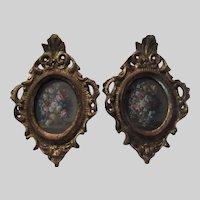 Pair Italian Florentine Ornate Gold Gilt Miniature Frames Floral Print Art