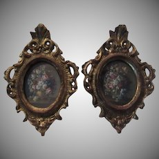Pair Italian Florentine Ornate Gold Gilt Miniature Frames Floral Print Art