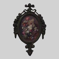 Italian Miniature Floral Print Ornate Metal Frame