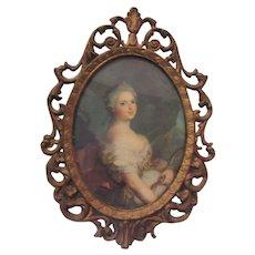 Italian Miniature Print Beautiful Lady Ornate Metal Frame