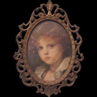 Italian Miniature Print Young Girl Ornate Metal Frame