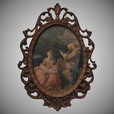Italian Miniature Print Courting Couple Ornate Metal Frame