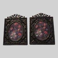 Italian Floral Miniature Prints Ornate Metal Frames Italy Art