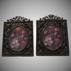 Italian Floral Miniature Prints Ornate Metal Frames Italy Art