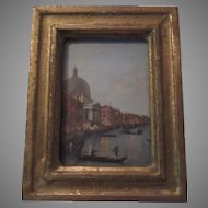 Italian Florentine Miniature Art Gondola Scene Gold Gilt Frame