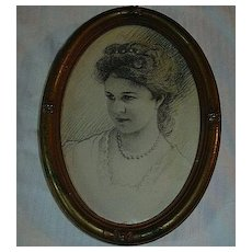 A Micheli Signed Pencil Drawing Young Lady Family Cameo Portrait