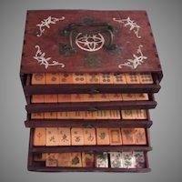 Carved Bakelite Peacock Mahjong 144 + 20 Pc Set Wood Box With Inlay Mahjongg