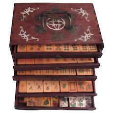 Carved Bakelite Peacock Mahjong 144 + 20 Pc Set Wood Box With Inlay Mahjongg