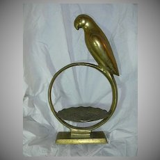 Large Brass Parrot Stand With Bowl
