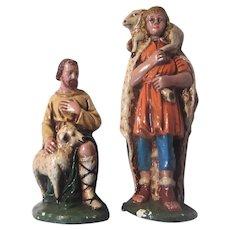 Set 2 Nativity Shepherds Figurines Large